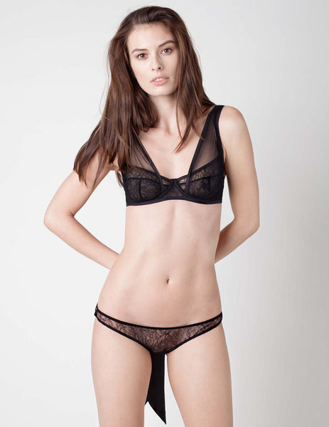 Damaris Panther Black Lace Silk Bow Back Knicker