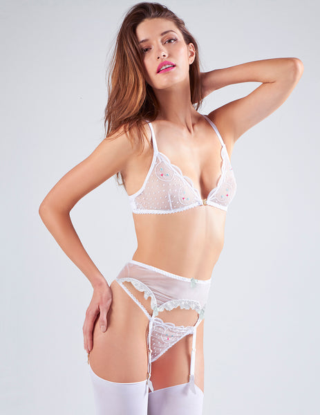 White Lace & Cat Stickerei Hosenträger | Mimi Holliday Luxus Dessous
