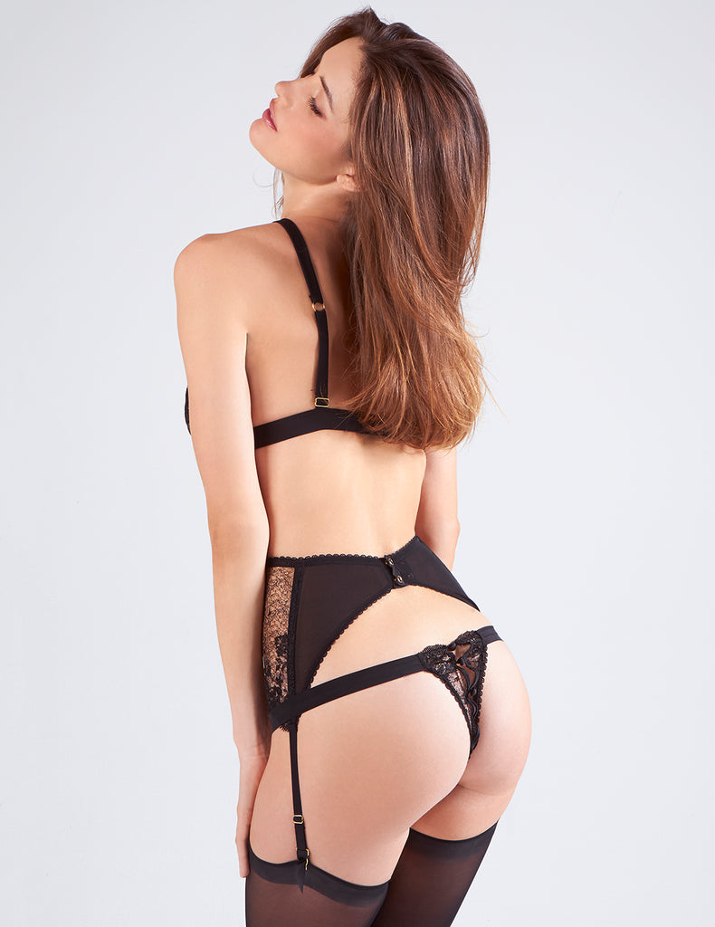 Black Lace Suspenders | Mimi Holliday Sexy Lingerie