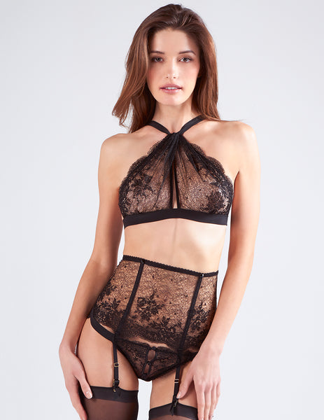 Black Lace Suspenders | Mimi Holliday Luxe Lingerie