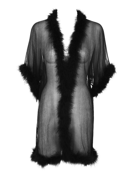 Svart Silke Robe | Mimi Holliday Luxury Nightwear