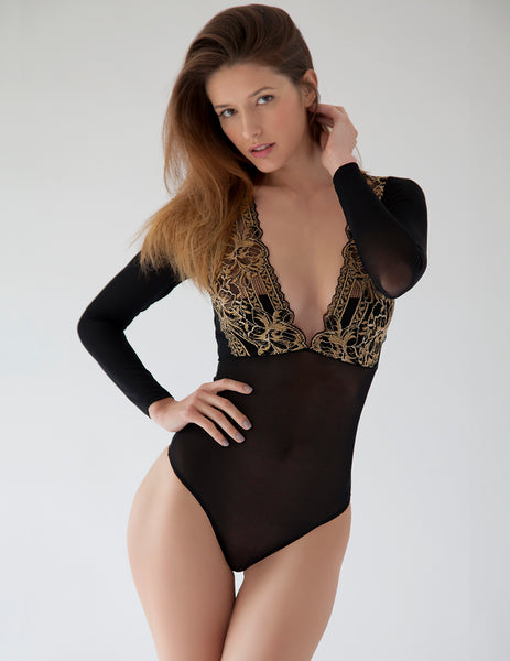 Black Gold Lace Body | Lencería de lujo Mimi Holliday