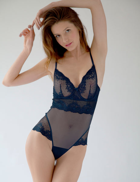 Navy Blue Lace Bodysuit | Mimi Holliday Designer Underkläder