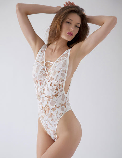 White Lace Thong Body | Mimi Holliday Luxury Lingerie