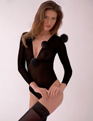Black Pom Pom Body | Mimi Holliday Luxury Lingerie