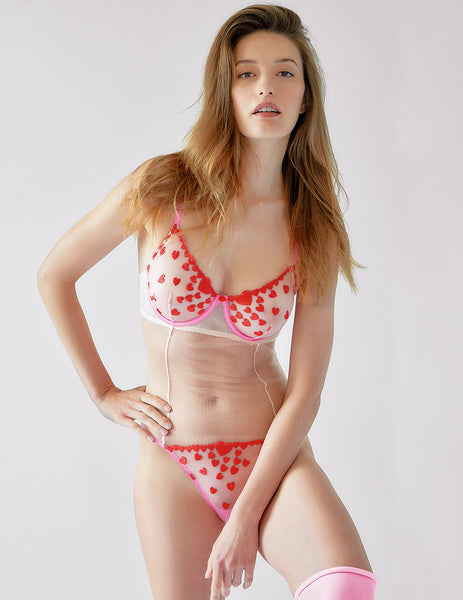 Pink Red Hearts Lace Body | Mimi Holliday Luksus Undertøj