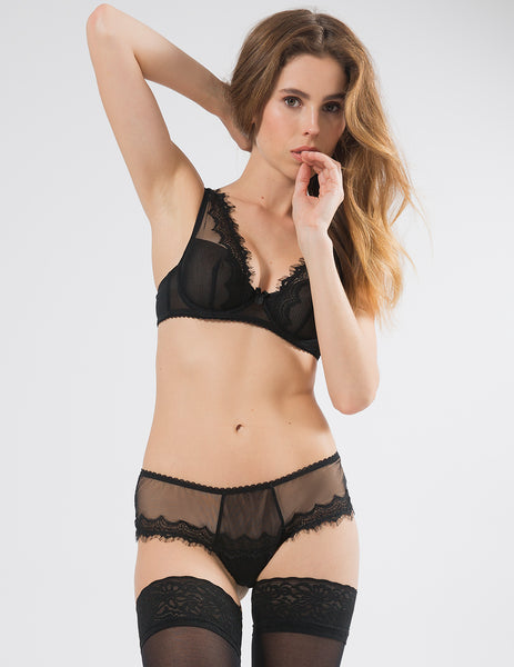 Black Lace Shoulder Bra | Mimi Holliday Luxury Lingerie