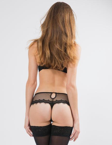 Black Lace Boyshort Knickers | Mimi Holliday Luxury Lingerie