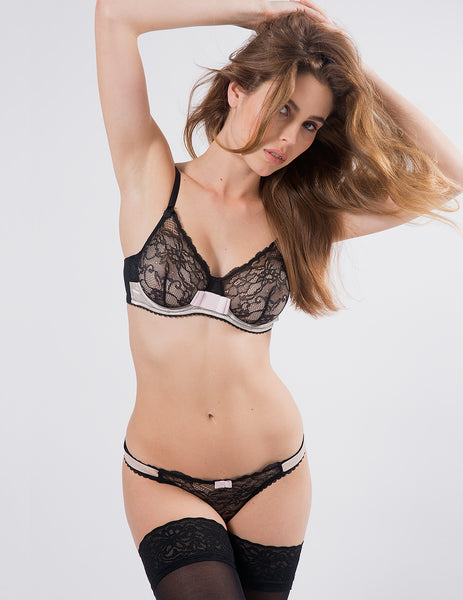 Black & Pink Lace Comfort Bra | Mimi Holliday Luxury Lingerie