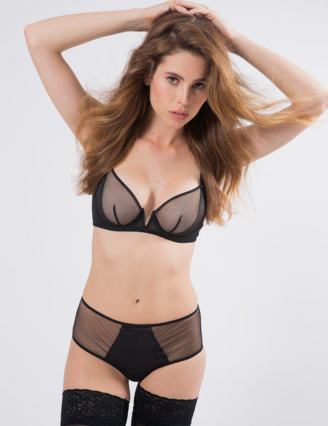 Black Non-Padded Comfort V Bra | Mimi Holliday Luxury Lingerie