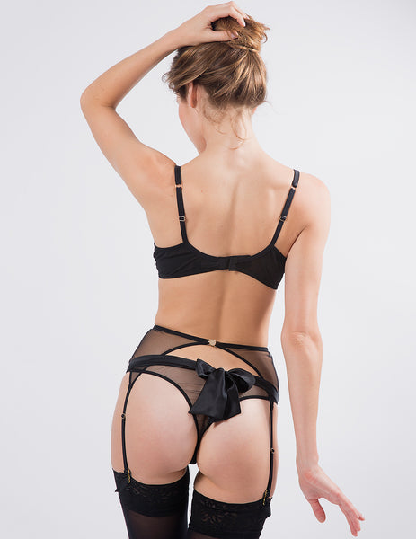 Black Bow-Back Thong Knickers | Mimi Holliday Luxury Lingerie