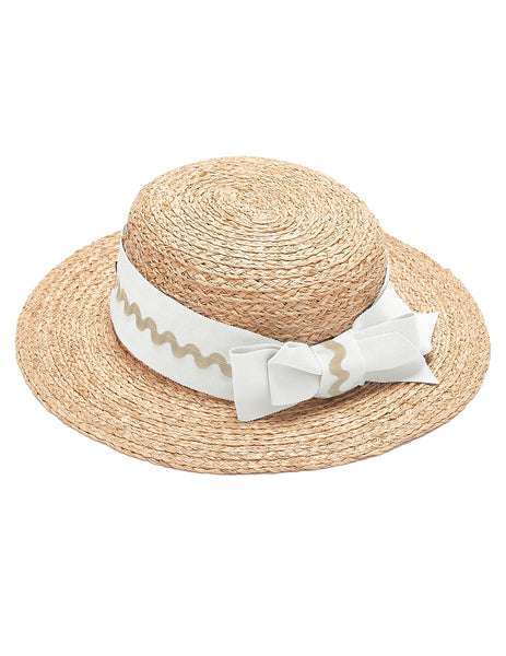 Mimi Boater Hat - Vit & Tan