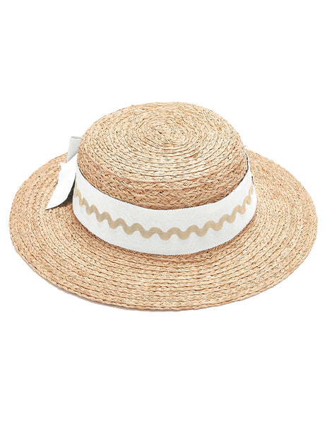 Mimi Boater Hat - Hvit & Tan