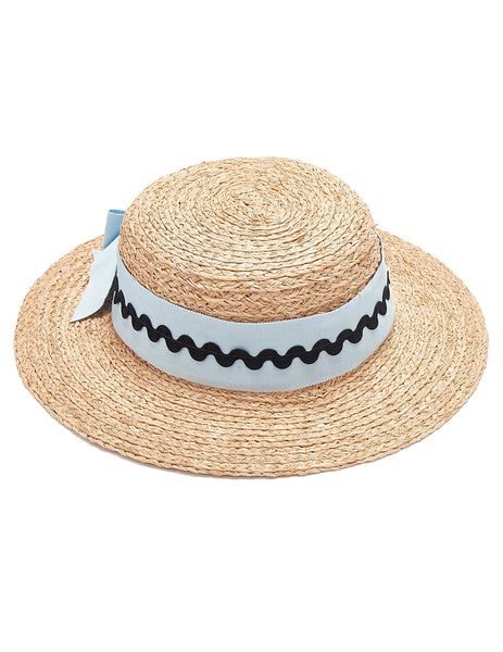 Mimi Boater Hat - Blue & Black