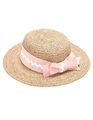 Mimi Boater Hat - Pink & Ivory