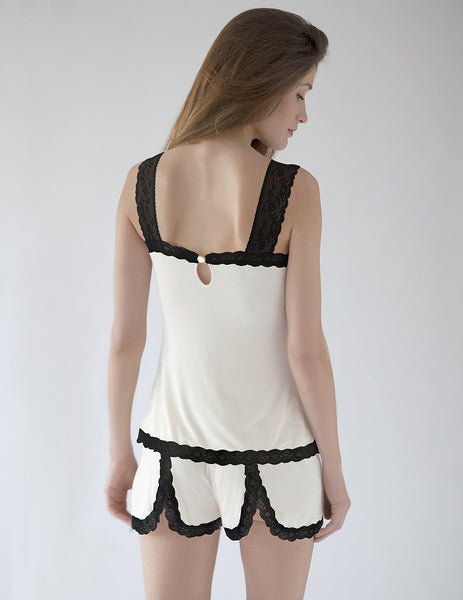 Black & White Night Shorts | Mimi Holliday Luxury Nightwear