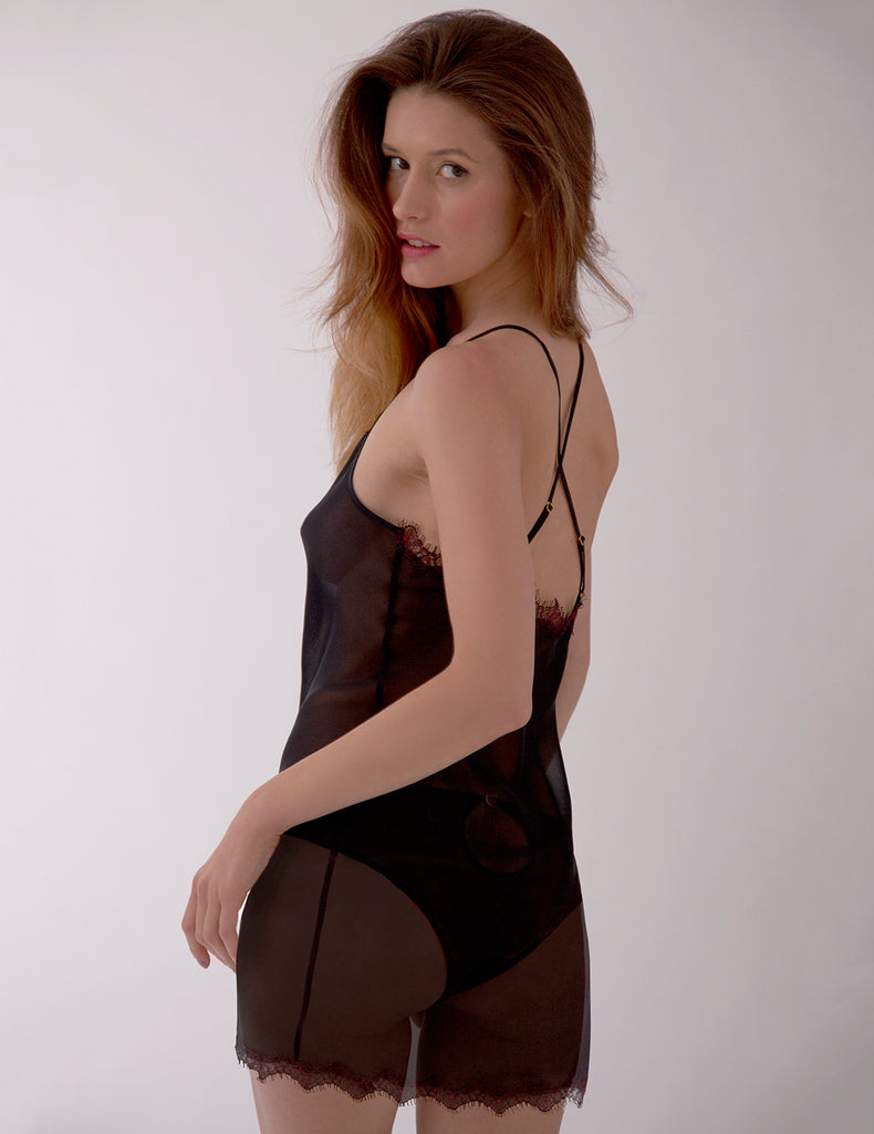 Dark Red Lace Nightie Slip | Mimi Holliday Sexy Nightwear