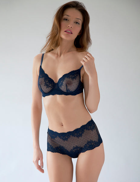 Navy Blue Lace Comfort Bra | Mimi Holliday Luksus Undertøj