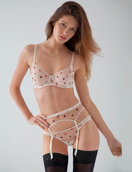 Cream Lace Suspenders | Mimi Holliday Designer Lingerie