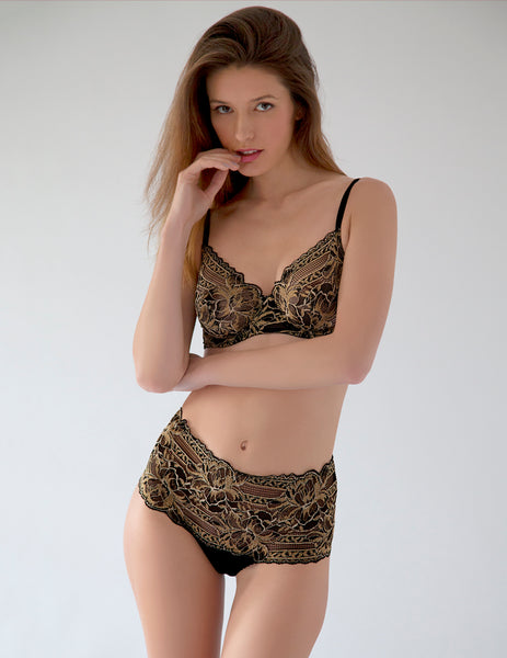 Black Gold Lace Comfort Bra | Mimi Holliday Designer Undertøy