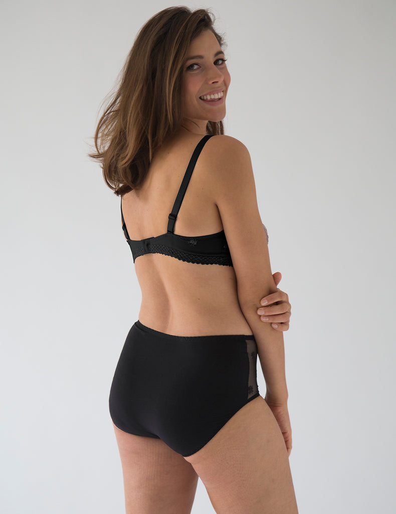 Chantilly Onyx High Waisted Support Brief