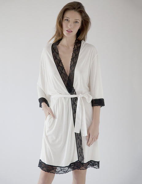 Black & White Dressing Gown | Mimi Holliday Luxury Nightwear