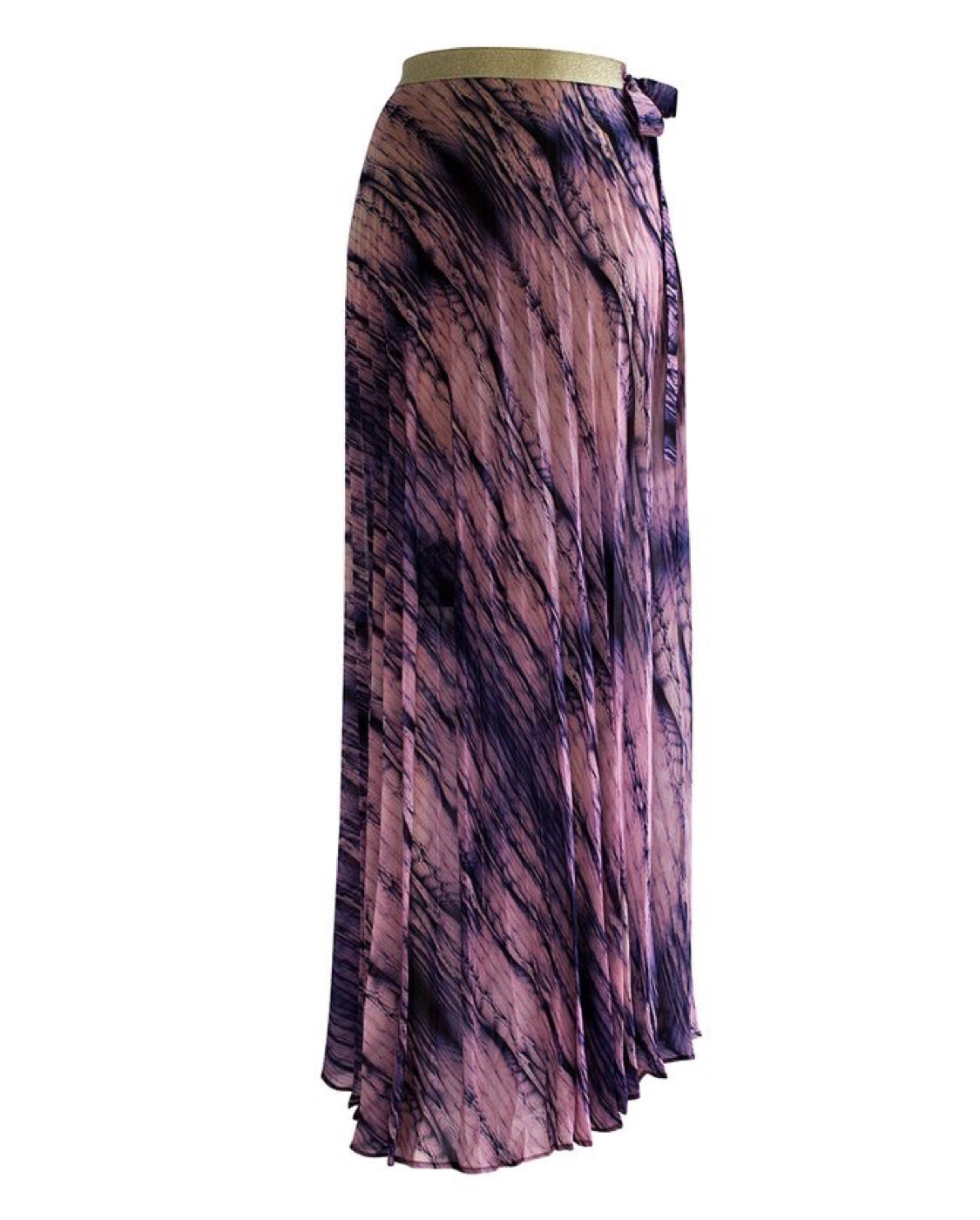 Dreamcatcher Pleated Maxi Skirt - Feather Boa - by West Seventy Nine