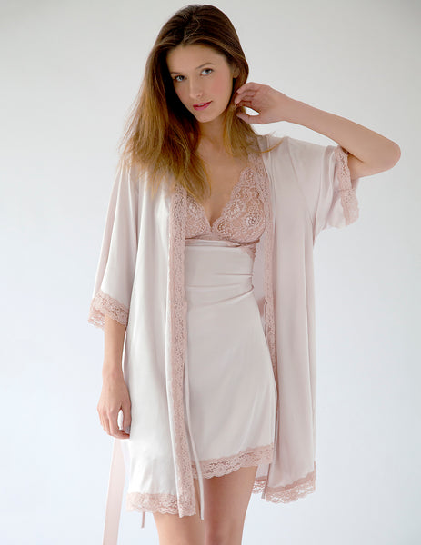 Nude Silk Dressing Gown | Mimi Holliday Luxury Nightwear