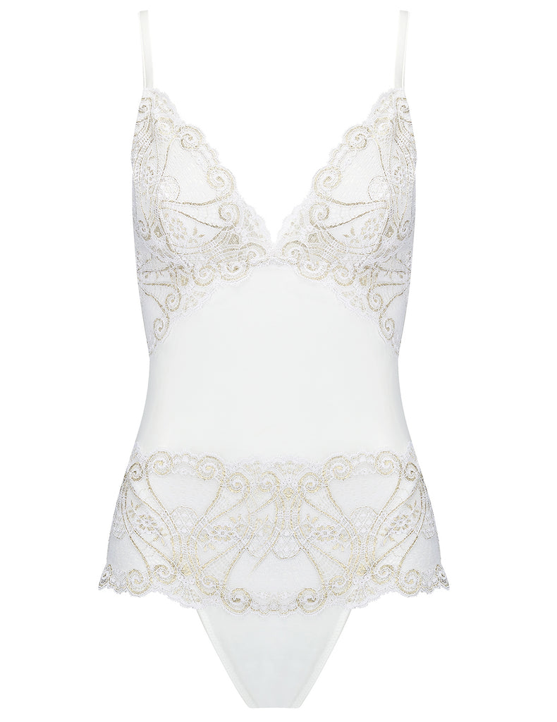 Hvit og gull snøre kropp | Mimi Holliday Luxury Lingerie