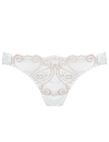 White & Gold Lace Thong | Mimi Holliday Designer Lingerie