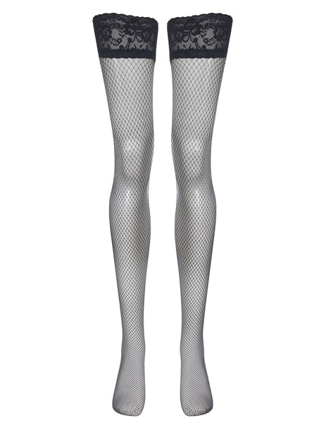 Mimi Lace Fishnets Hold Ups - Nero