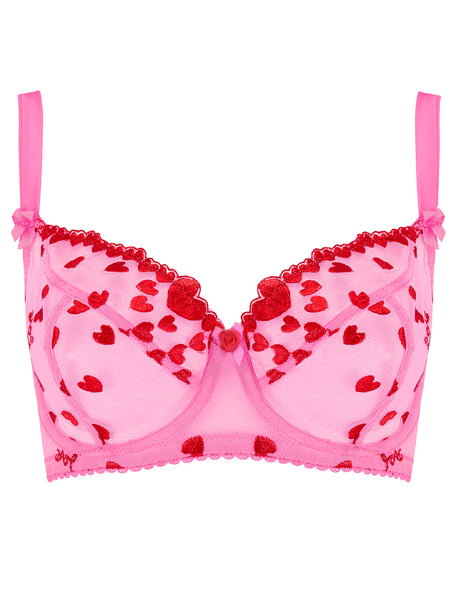 Reggiseno Maxi Large Cup Rosa Hearts Rosso | Mimi Holliday Luxury Lingerie