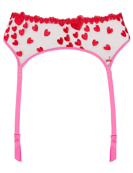 Pink Red Hearts Suspenders | Mimi Holliday Luxury Lingerie