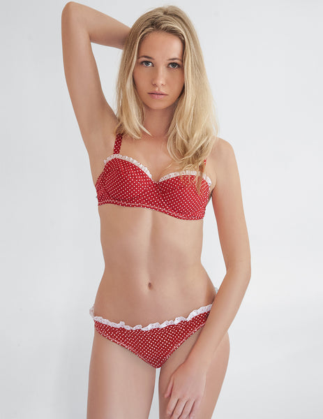 Riviera Red Polka Dot Bikini Top | Mimi Holliday Designer Swimwear