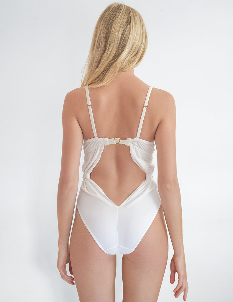Brigette White One Piece Badedrakt | Mimi Holiday Sexy Badetøy