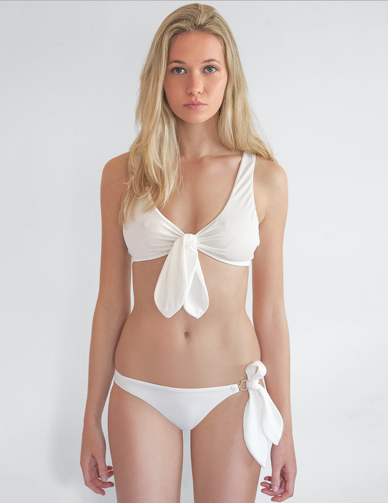 Cecile White Bikini Bottom | Mimi Holliday Designer Badetøy