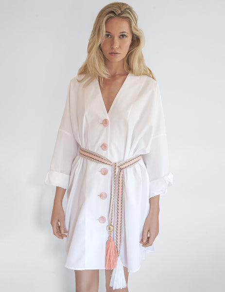 Bonjour White Shirt Beach Dress | Mimi Holliday Luxury Swimwear