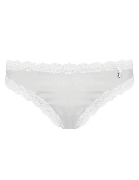 Knickerworld | Silver Silk Knickers med vit Trim