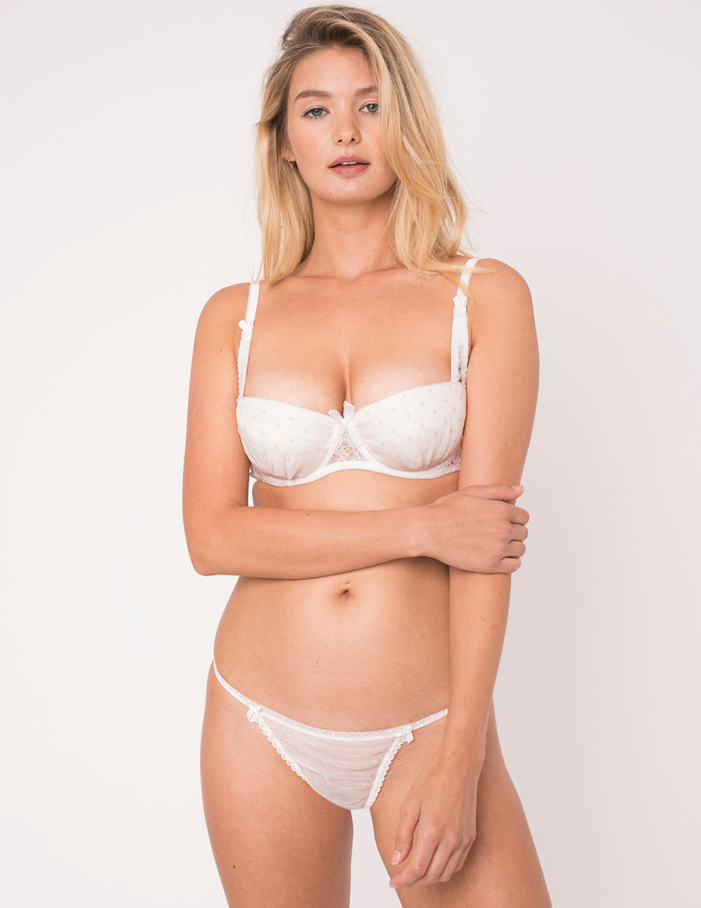 White & Pink Heart Silk Ouvert Thong - Mimi Holliday Designer Lingerie