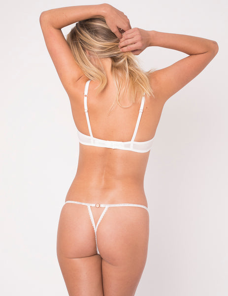 White & Pink Heart Silk Ouvert Thong - Mimi Holliday Sexy Lingerie