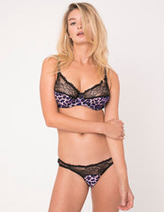 Purple Leopard Print Silk Bra | Mimi Holliday Luxury Lingerie