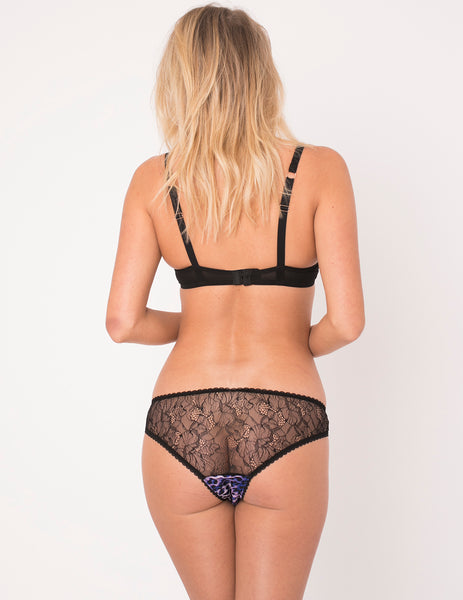 Cuecas roxas do leopardo | Lingerie de luxo Mimi Holliday