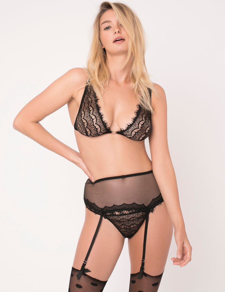 Black Lace Ouvert Thong | Mimi Holliday Designer Undertøy