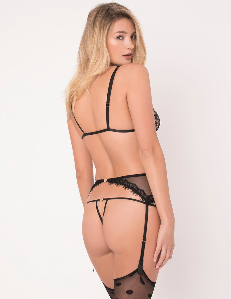 Black Lace Ouvert Thong | Mimi Holliday Luxury Lingerie