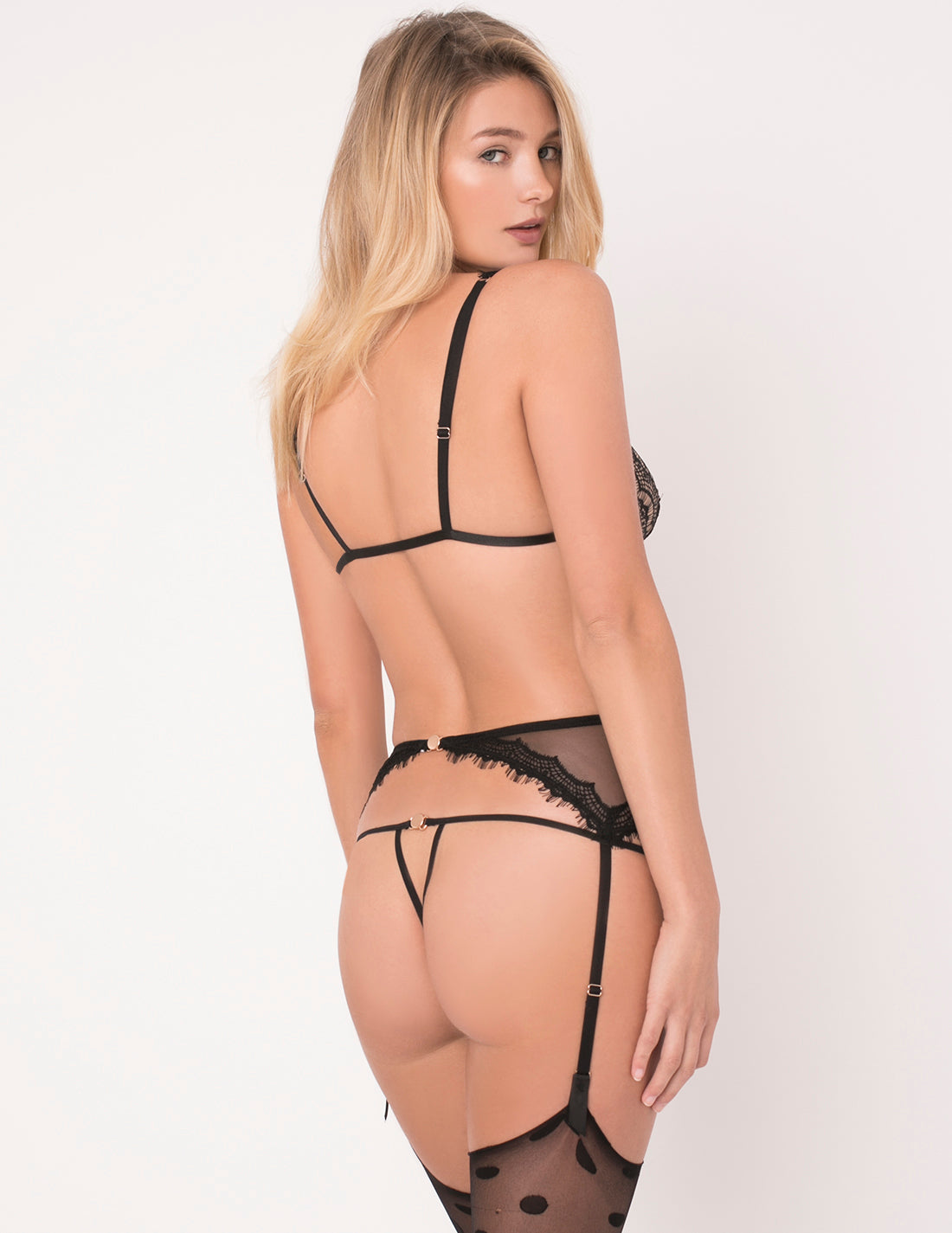 Black Lace Ouvert Thong | Mimi Holliday Sexy Lingerie