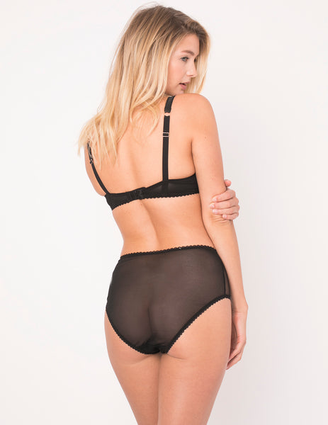 Knickers a vita alta in pizzo nero | Mimi Holliday Designer Lingerie