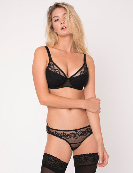 Orchid Noir Lace and Silk Padded Push-Up Bra