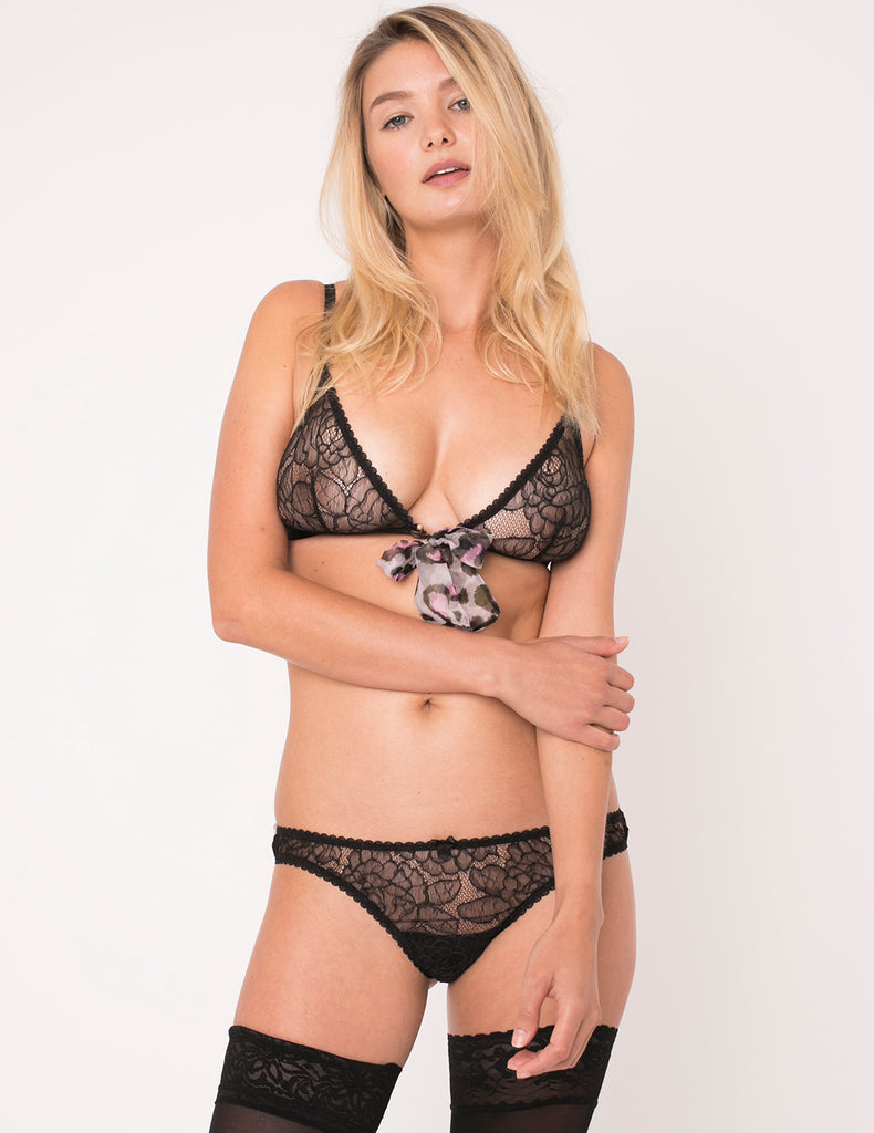 Purple Leopard Print Triangle Bow Bra - Mimi Holliday Sexy Lingerie