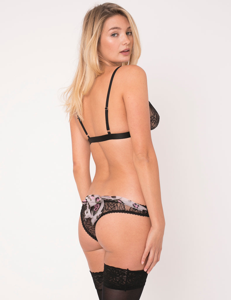 Lila Leopard Print Bow Thong - Mimi Holliday Luxury Underkläder