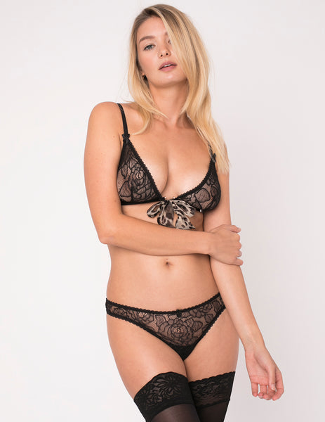 Leopard Print Triangle Bow Bra - Mimi Holliday Luxury Underkläder